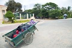 Wheelbarrow αχθοφόρος μεταφορέων κάρρων χεριών που φορά το βιετναμέζικο καπέλο, Βιετνάμ Στοκ Εικόνες