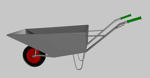 Wheelbarrow για την κατασκευή, χάλυβας Στοκ Εικόνες
