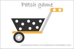 Wheelbarrow παιχνιδιών μπαλωμάτων εκπαίδευσης για τα παιδιά για να αναπτύξουν τις δεξιότητες μηχανών, μπαλώματα plasticine χρήσης διανυσματική απεικόνιση