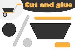 Wheelbarrow στο ύφος κινούμενων σχεδίων, παιχνίδι εκπαίδευσης για την ανάπτυξη των προσχολικών παιδιών, ψαλίδι χρήσης και κόλλα π ελεύθερη απεικόνιση δικαιώματος