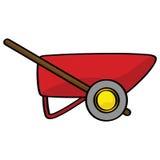 Wheelbarrow. Cartoon illustration of a red wheelbarrow Stock Images