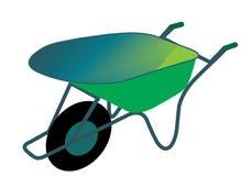 Wheelbarrow. In green for working in a garden Stock Photo