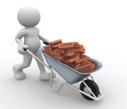 Wheelbarrow. 3d people icon  with bricks in wheelbarrow-  This is a 3d render illustration Stock Photos