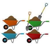 Wheelbarrow. Outdoor tolls. Illustration of wheelbarrow in different colors Stock Photo