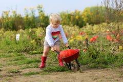 Μικρό κορίτσι που περπατά με wheelbarrow στον τομέα Στοκ φωτογραφία με δικαίωμα ελεύθερης χρήσης