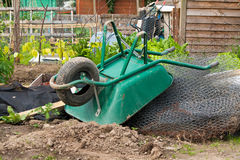 Wheelbarrow on allotment Stock Image