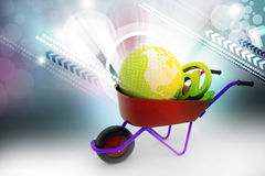 Wheelbarrow carrying earth and email sign Royalty Free Stock Image