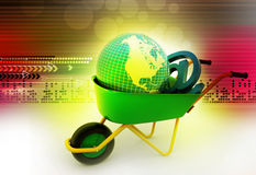 Wheelbarrow carrying earth and email sign Royalty Free Stock Images