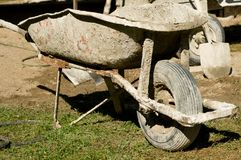 Wheelbarrow for cement mixing Royalty Free Stock Image