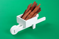 Wheelbarrow and cinnamons Stock Image