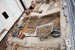 Wheelbarrow At a Construction Site Royalty Free Stock Image