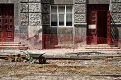 Wheelbarrow on the construction site Stock Photography