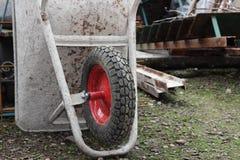 Wheelbarrow in construction site Stock Photos