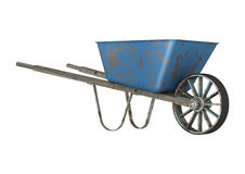 Wheelbarrow. 3D digital render of an old wheelbarrow isolated on white background Royalty Free Stock Image