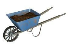 Wheelbarrow. 3D digital render of an old wheelbarrow with soil isolated on white background Stock Photos