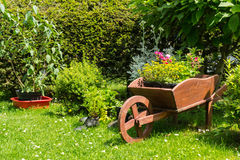 Wheelbarrow decoration in the garden Stock Photography
