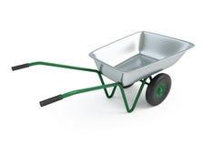 Wheelbarrow em um fundo branco Foto de Stock