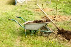 Wheelbarrow with fertilizer and shovel during the seasonal planting of agriculture royalty free stock image