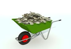 Wheelbarrow filled with dollars Stock Image