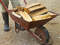 Wheelbarrow of firewood Royalty Free Stock Images