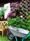 Wheelbarrow Flower Stock Image