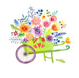 Wheelbarrow with flowers Cute watercolor card Royalty Free Stock Image