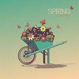 Wheelbarrow With Flowers in Retro Style. Spring Breathe Stock Images