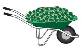 Wheelbarrow Full of Cash. A green wheelbarrow overflowing with currency is ready to be taken away Royalty Free Stock Photography