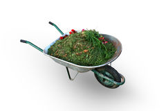 Wheelbarrow full of compost. In white background Royalty Free Stock Photos