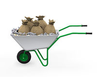 Wheelbarrow Full of Dollar Royalty Free Stock Images