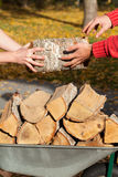 Wheelbarrow full of firewood Stock Photography