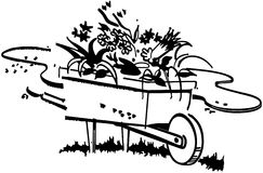 Wheelbarrow Full Of Flowers Royalty Free Stock Image