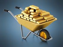 Wheelbarrow full of gold. 3D illustration Royalty Free Stock Photo