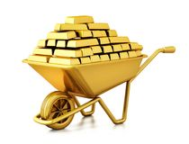 Wheelbarrow full of gold. 3D illustration stock illustration