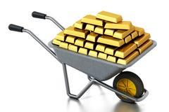 Wheelbarrow full of gold. 3D illustration Stock Image
