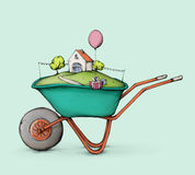 Wheelbarrow full of happiness. Illustration of a wheelbarrow with dreamhouse and birthday present Royalty Free Stock Images