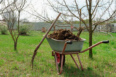 Wheelbarrow full of manure royalty free stock images