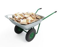 Wheelbarrow full of money. On a white background Stock Photo