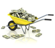 Wheelbarrow full of money. Wealth, fortune, capital, earnings, lottery, dollar 3d concept Royalty Free Stock Photography