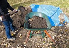 Wheelbarrow Full Of Soil Stock Image