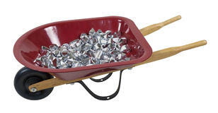 Wheelbarrow Full of Silver Stones Royalty Free Stock Image