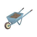 Wheelbarrow full of soil or compost cartoon vector Illustration. Isolated on a white background Stock Image