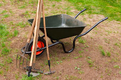 Wheelbarrow in a garden Stock Photography