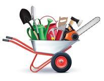 Wheelbarrow with Garden Accessories. all in one concept. Stock Photos