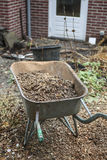 Wheelbarrow in garden Royalty Free Stock Photography
