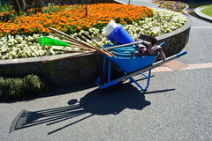 Wheelbarrow with gardening tools in flower garden Royalty Free Stock Photography