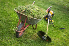 Wheelbarrow with grass and the trimmer Royalty Free Stock Image