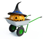 Wheelbarrow halloween pumpkins. Isolated on a white background Royalty Free Stock Image