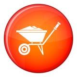 Wheelbarrow icon, flat style Royalty Free Stock Images