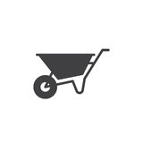 Wheelbarrow icon vector, filled flat sign, solid pictogram isolated on white. Symbol, logo illustration. Stock Photography